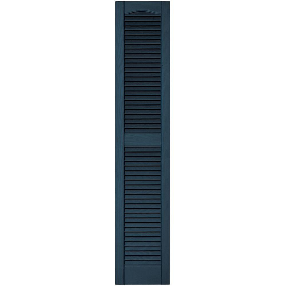Builders Edge 12 in. x 60 in. Louvered Vinyl Exterior Shutters Pair in #036 Classic Blue
