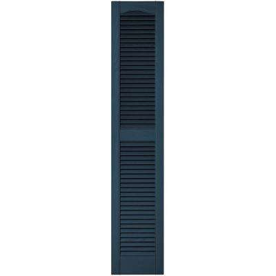 12 in. x 60 in. Louvered Vinyl Exterior Shutters Pair in #036 Classic Blue