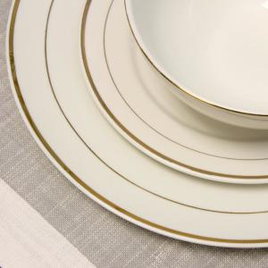 GIBSON HOME Palladine 16-Piece White Double Gold Banded Dinnerware ...