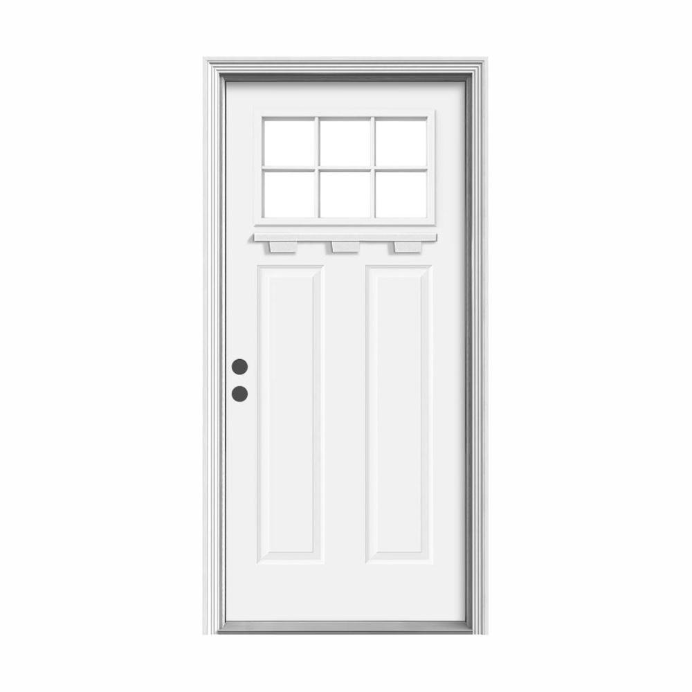 """JELD-WEN """" 36 in. x 80 in. 6 Lite Craftsman White Painted Steel Prehung Right-Hand Inswing Door w/Brickmould and Shelf"""""""
