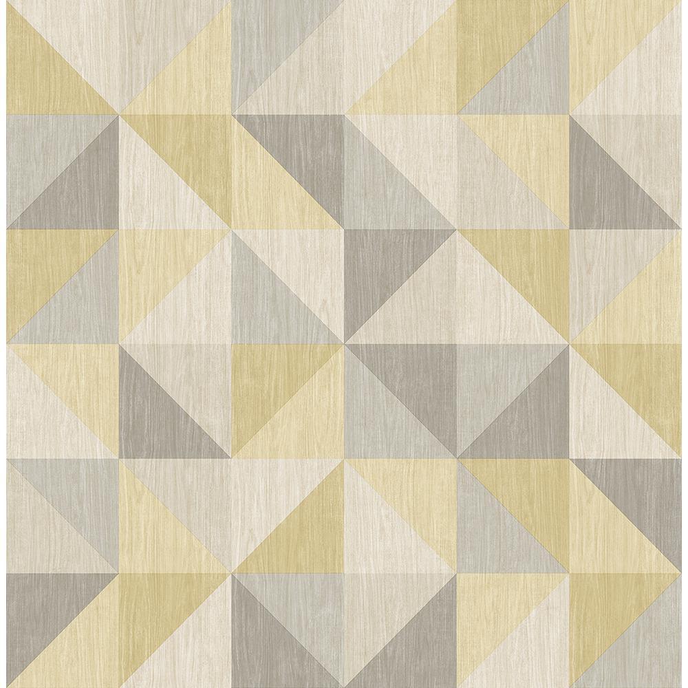 A-Street Puzzle Yellow Geometric Wallpaper 2697-22623