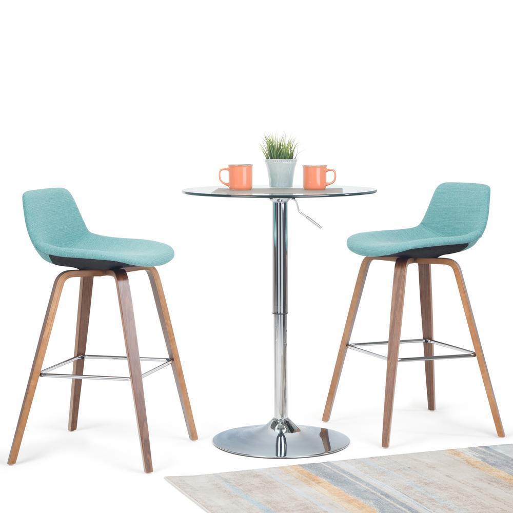 Phenomenal Simpli Home Randolph 36 6 In Aqua Blue Linen Look Fabric Machost Co Dining Chair Design Ideas Machostcouk