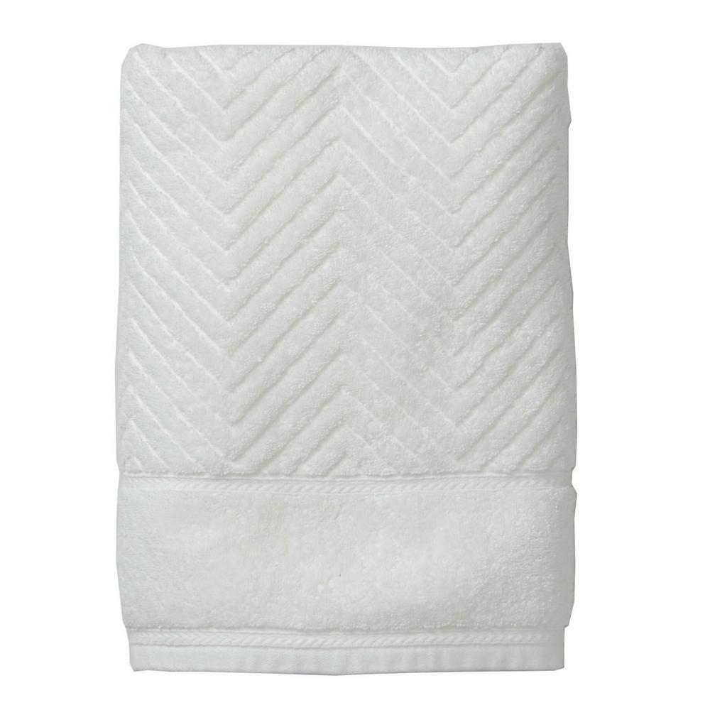 The Company Store Chevron Egyptian Cotton Single Bath Towel in White