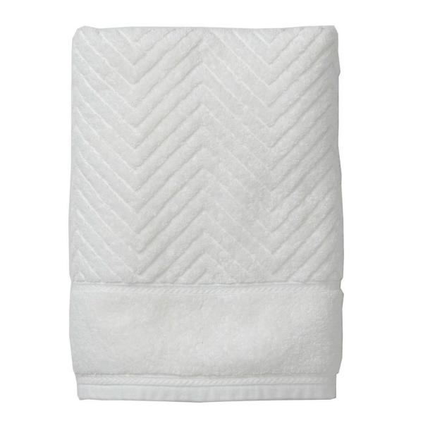 The Company Store Chevron Egyptian Cotton Single Hand Towel in White