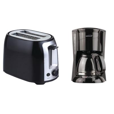 12-Cup Black Coffee Maker and 2-Slice Black Toaster with Extra-Wide Slots