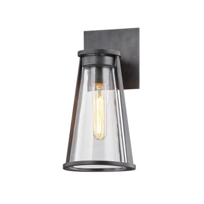 Prospect 12 in. Graphite 1-Light Wall Sconce with Clear Glass Shade