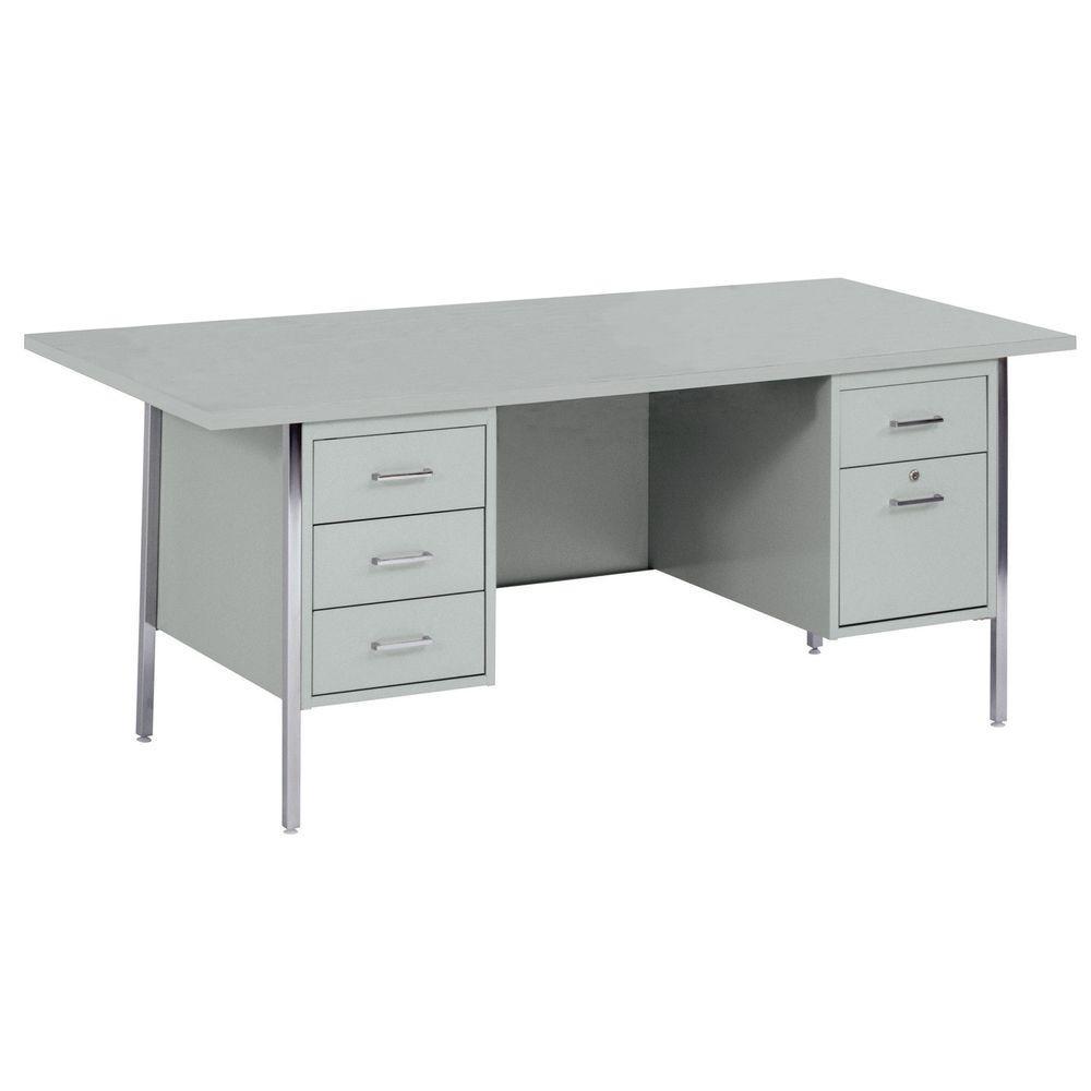 400 Series Double Pedestal Steel Desk in Gray