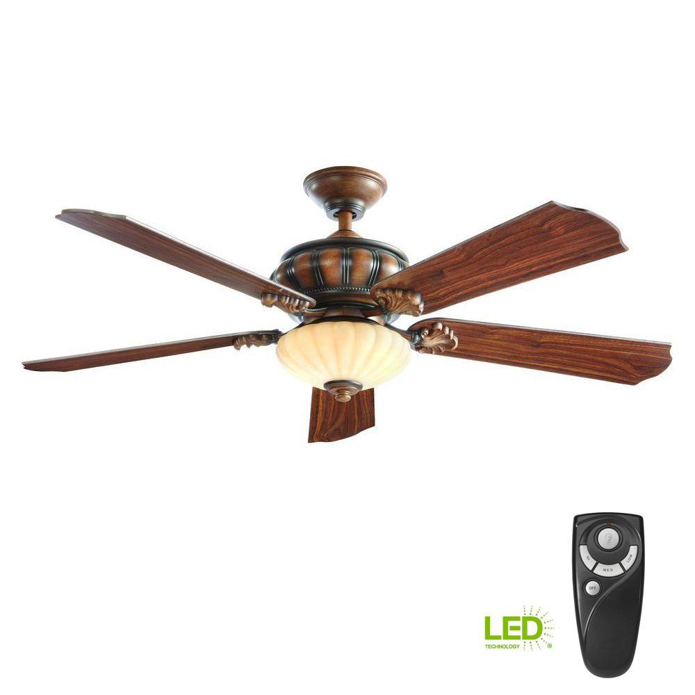 Home Decorators Collection Abigail 52 In Led Indoor Mediterranean Dark Walnut Ceiling Fan With Light Kit And Remote Control