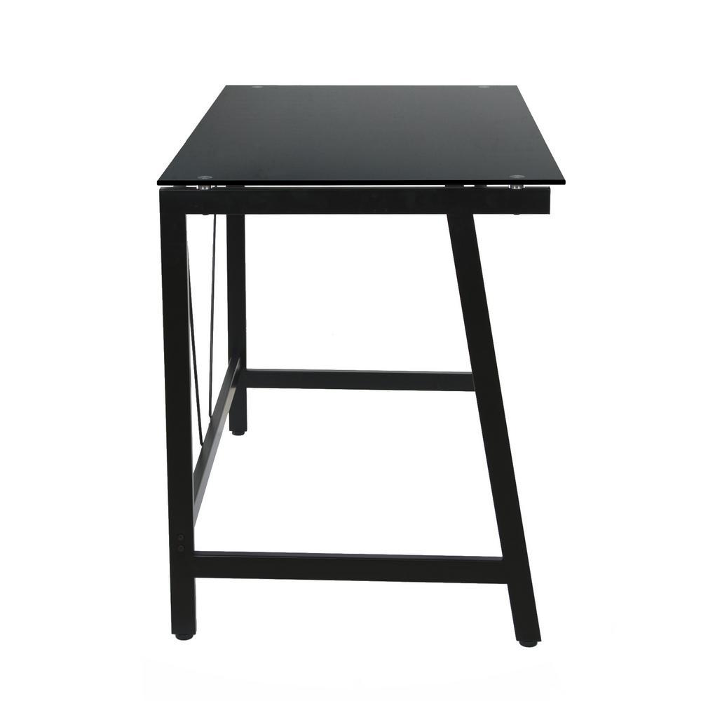 Black Steel Frame OneSpace Contemporary Glass Writing Desk
