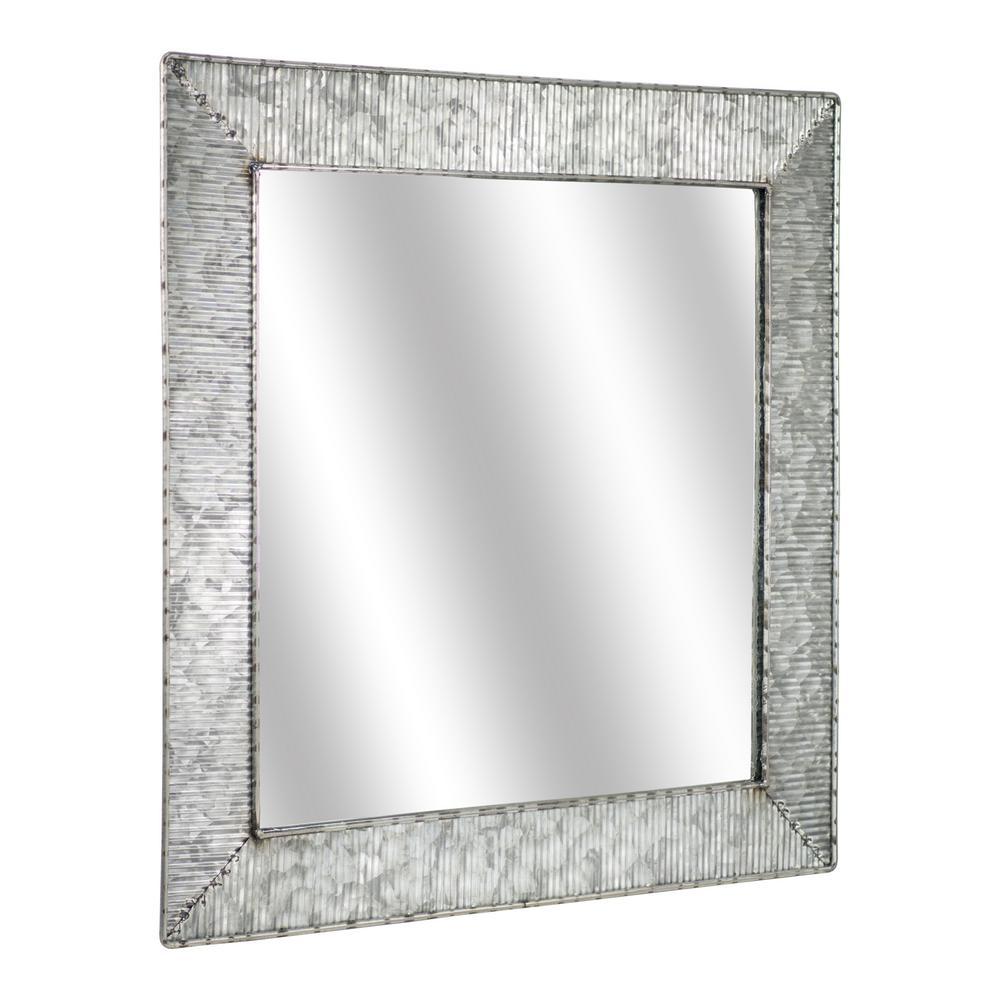 American Art Decor 22 H X 22 L X 1 D Square Galvanized Grey Metal Mirror 203345web The Home Depot