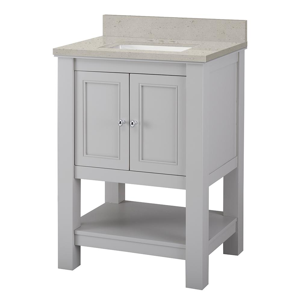 Home Decorators Collection Gazette 25 in. W x 22 in. D Vanity Cabinet in Grey with Engineered Quartz Vanity Top in Stoneybrook with White Sink