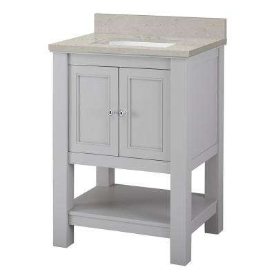 Gazette 25 in. W x 22 in. D Vanity Cabinet in Grey with Engineered Quartz Vanity Top in Stoneybrook with White Sink