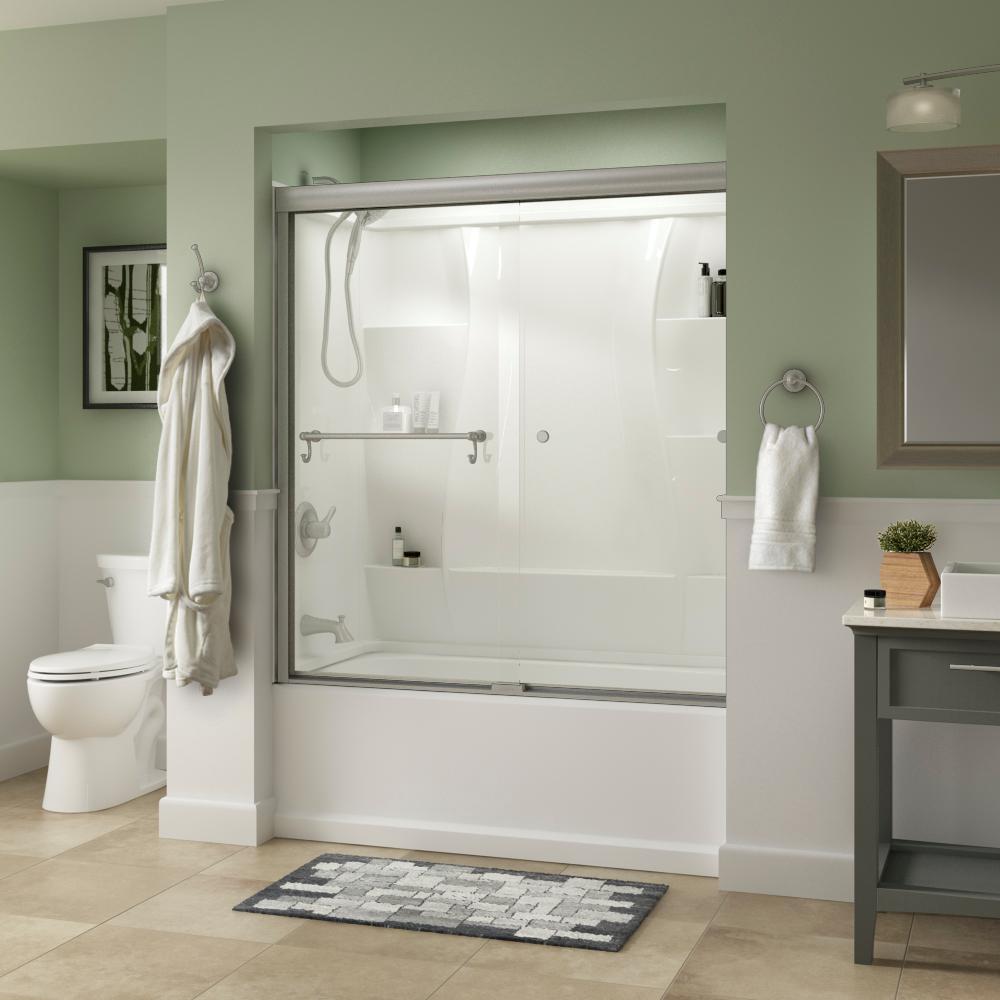 Portman 60 in. x 58-1/8 in. Semi-Frameless Traditional Sliding Bathtub Door in Nickel with Clear Glass