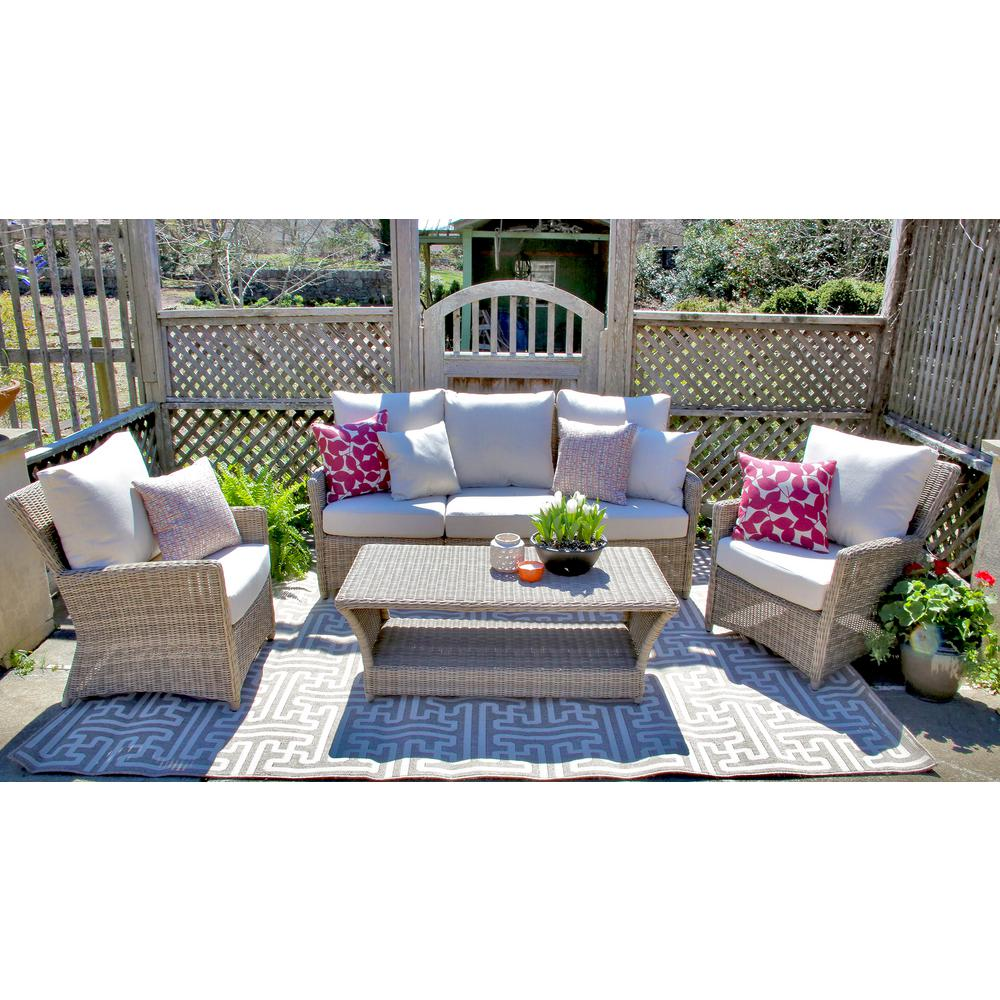 Oakmont 6-PIece All-Weather Wicker Patio Conversation Set with Sunbrella Beige