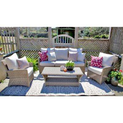 Oakmont 6-PIece All-Weather Wicker Patio Conversation Set with Sunbrella Beige Cushions