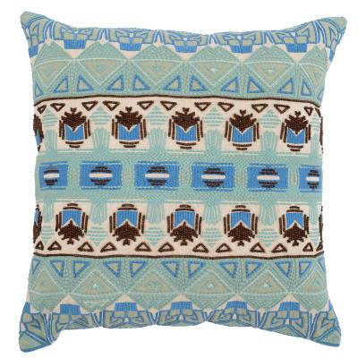 Reece Blue Surf/ Desert 22 in. x 22 in. Linen Embroidery with Beading Decorative Pillow