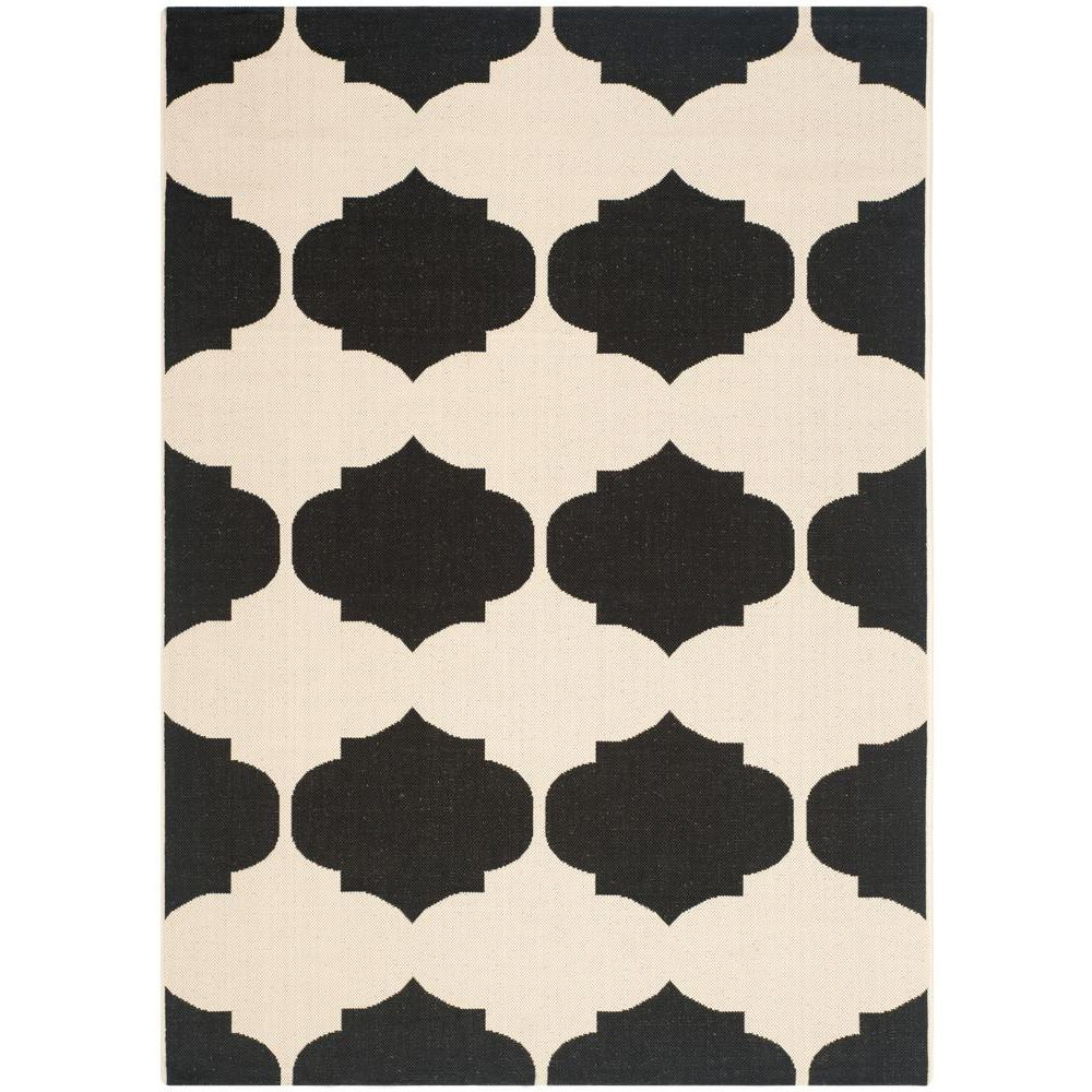 Safavieh Courtyard Beige/Black 5 ft. 3 in. x 7 ft. 7 in. Indoor/Outdoor Area Rug
