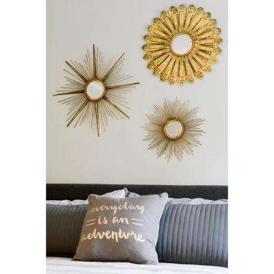 Daria Sunburst Metal Wall Mirror Set of 3