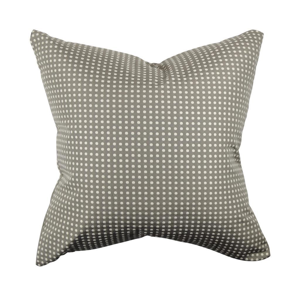 Gray and White Polka Dot Jacquard Throw Pillow