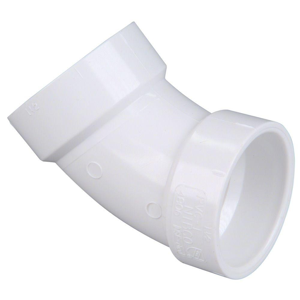 null 1-1/2 in. PVC DWV 45 Degree Hub x Hub Elbow