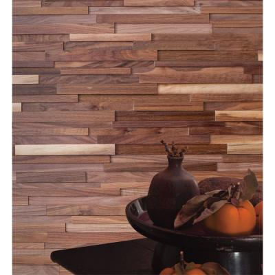 1/2 in. x 7-7/8 in. x 47-1/4 in. Black Walnut 3D Solid Hardwood Interlocking Wall Plank