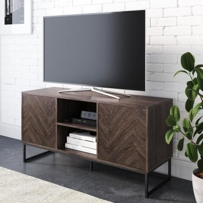 Dylan 47 in. Gray and Black Wood TV Stand Fits TVs Up to 55 in. with Storage Doors