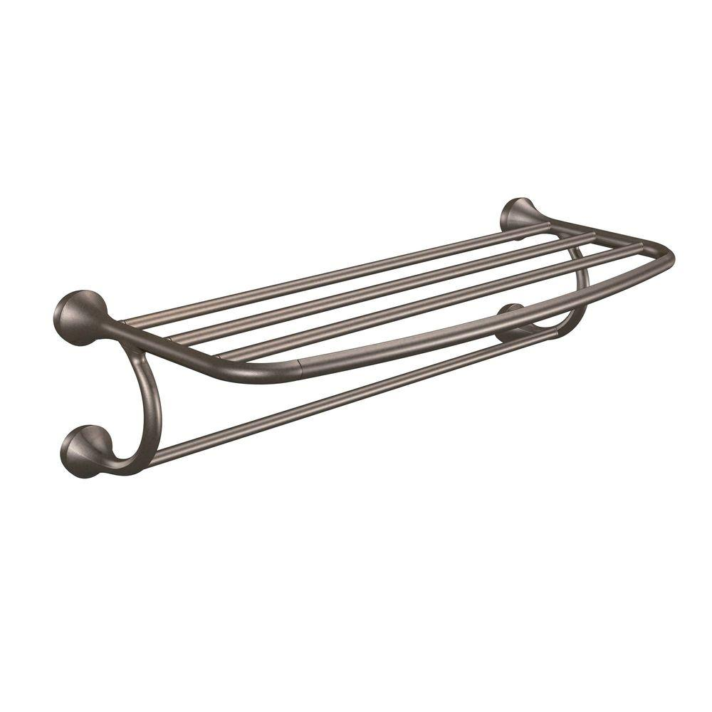 MOEN Eva 10-31/50 in. L x 6-99/100 in. H x 24 in. W Zinc Hotel-Style Bathroom Shelf in Oil Rubbed Bronze