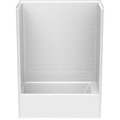 Everyday Subway Tile 60 in. x 32 in. x 80 in. 1-Piece Bath and Shower Kit with Left Drain in White