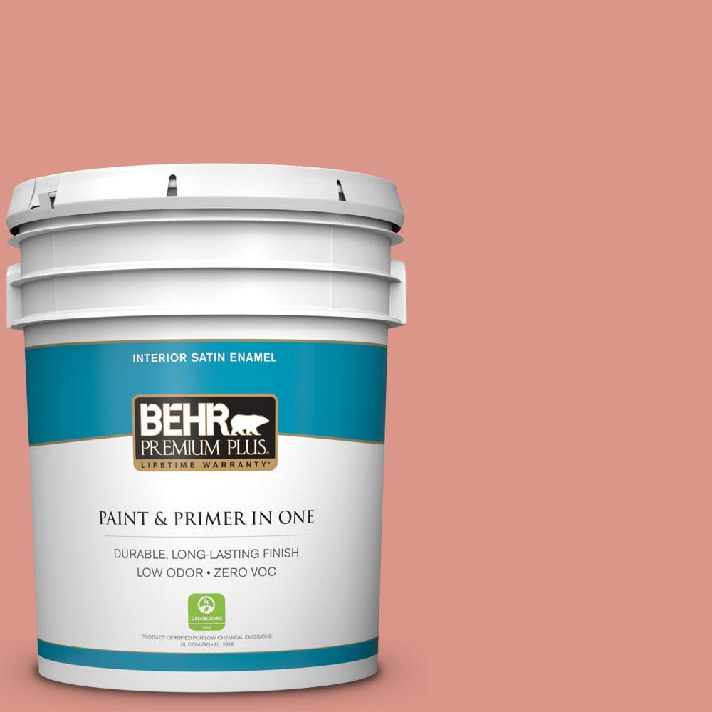 BEHR Premium Plus 5-gal. #180D-4 Coral Serenade Zero VOC Satin Enamel Interior Paint