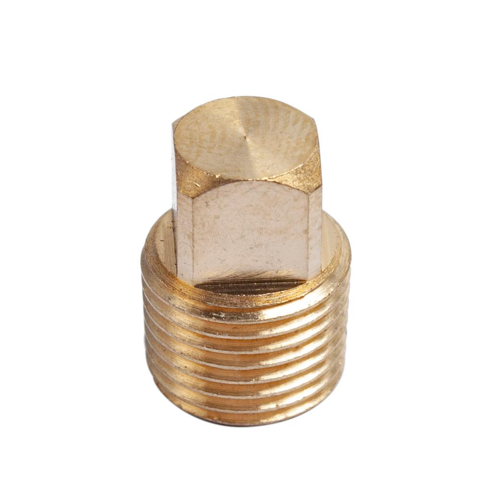 Solid Brass Pipe Fitting Pack of 5 Hex Plug 1//4 NPT Male