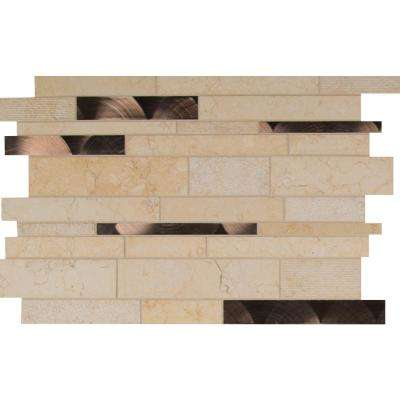 Cairo Blend Interlocking 12 in. x 18 in. x 8mm Glass Stone Metal Mesh-Mounted Mosaic Tile (15 sq. ft. / case)