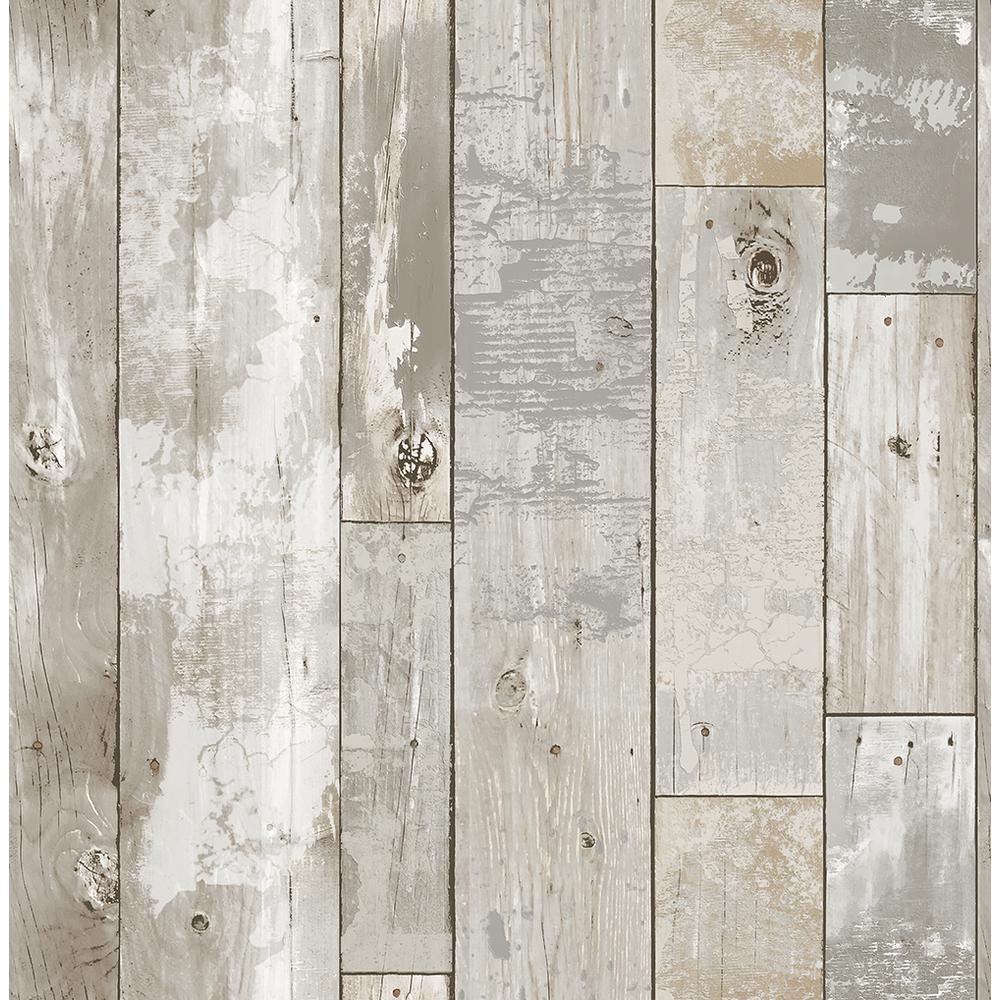56 4 Sq Ft Deena Light Grey Weathered Wood Wallpaper