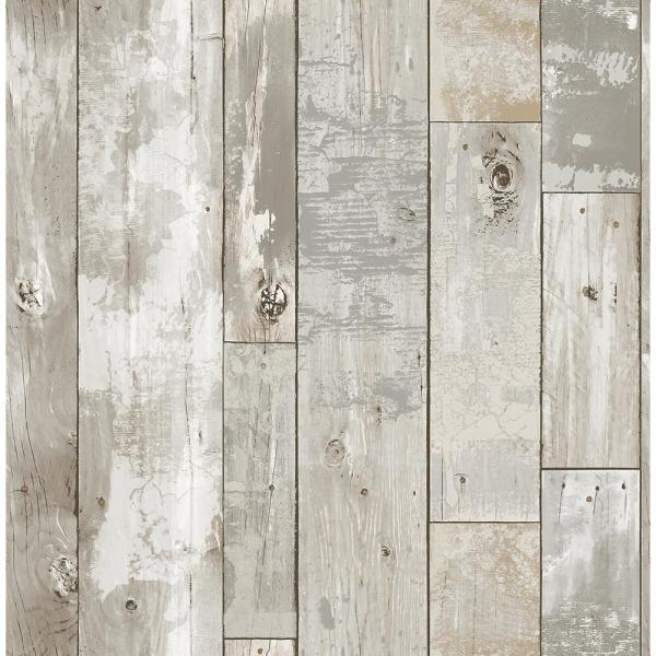 A-Street Deena Grey Distressed Wood Wallpaper Sample 2540-24054SAM