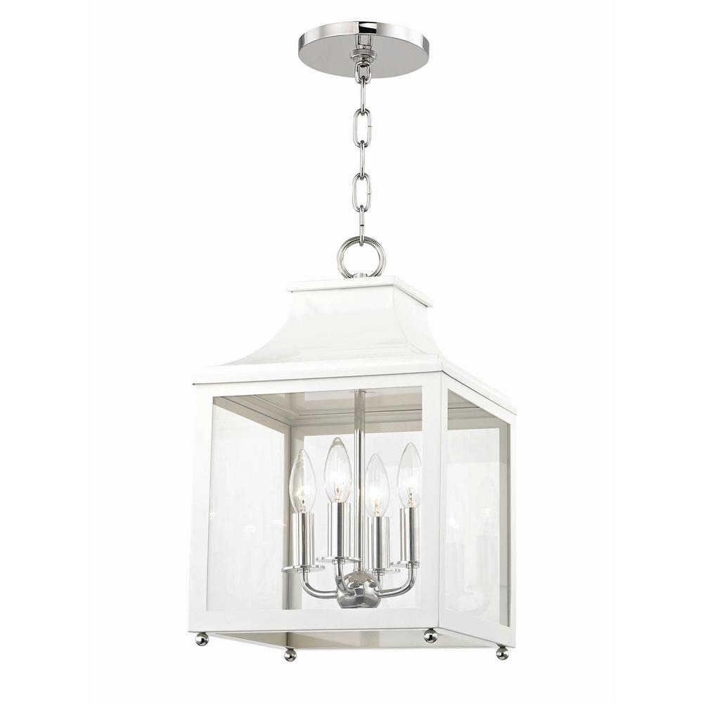 Mitzi By Hudson Valley Lighting Leigh 4 Light 11 5 In W Polished Nickel White Pendant With Clear Gl Panel