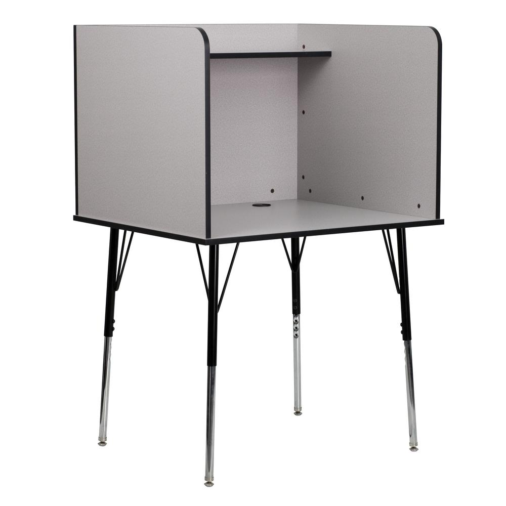 FLASH Nebula Grey Finish Study Carrel with Adjustable Legs and Top Shelf, Gray