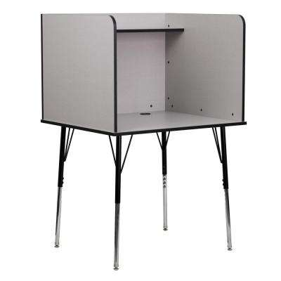 Nebula Grey Finish Study Carrel with Adjustable Legs and Top Shelf