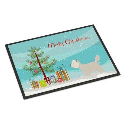 24 in. x 36 in. Indoor/Outdoor Westie Christmas Door Mat