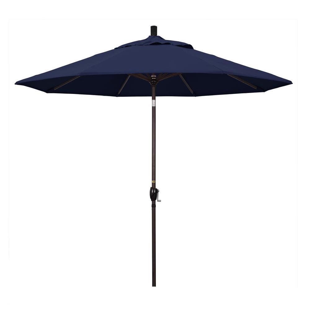 9 ft. Aluminum Market Push Tilt - M White Patio Umbrella in Navy Blue Olefin