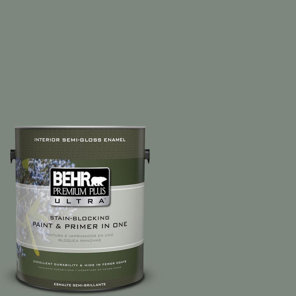 1 gal. #ECC-49-3 Forest Moss Semi-Gloss Enamel Interior Paint and Primer