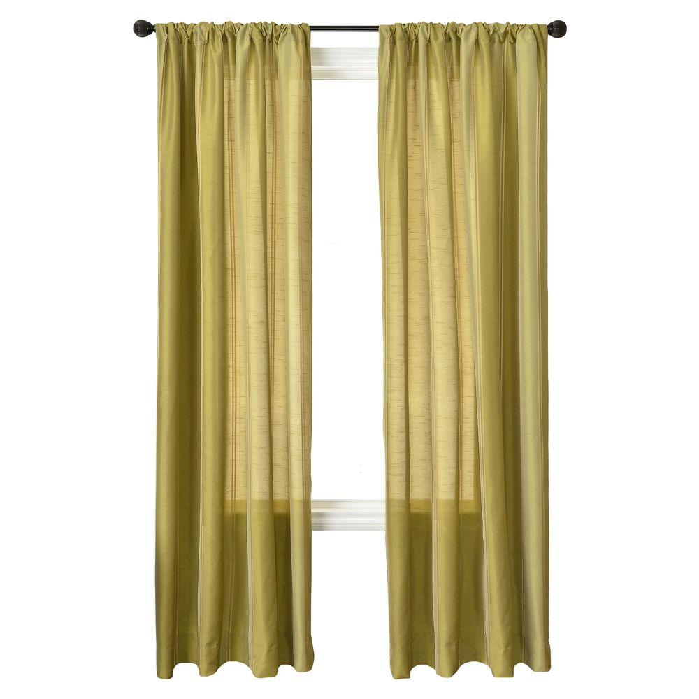 Home Decorators Collection Sheer Stripe Celery Diplomat Rod Pocket Curtain - 55 in.W x 84 in. L
