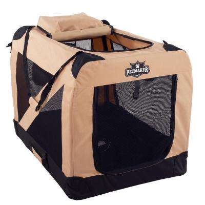 Khaki Portable Pet Crate with Soft Sides - Large