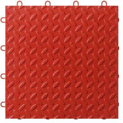 12 in. x 12 in. Red Polypropylene Garage Flooring Tile (48-Pack)