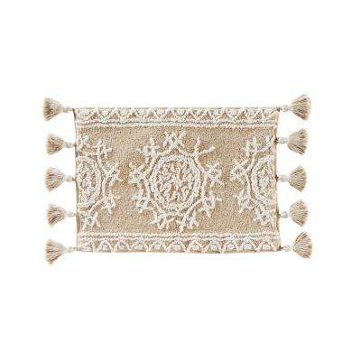 17 in. x 24 in. Natural Medallia Cotton Bath Rug