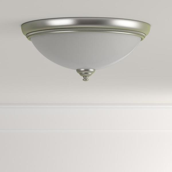 Progress Lighting Pavilion Collection 15 In 2 Light Brushed Nickel Hallway Flush Mount With Etched Watermark Glass P3479 09 The Home Depot
