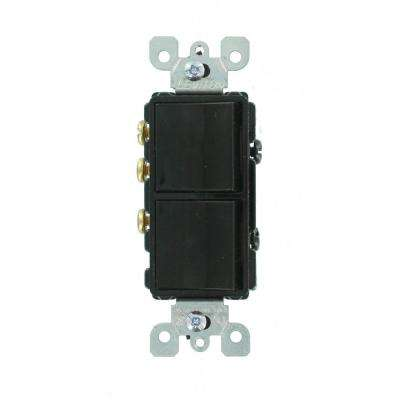 15 Amp Decora Commercial Grade Combination Single Pole Rocker Switch/3-Way Rocker Switch, Black
