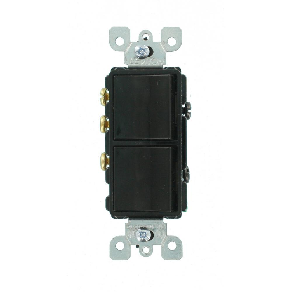 black leviton switches 5641 e 64_1000 leviton 15 amp combination double rocker switch, white r62 05224  at virtualis.co
