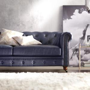 Home Decorators Collection Gordon Blue Leather Sofa ...