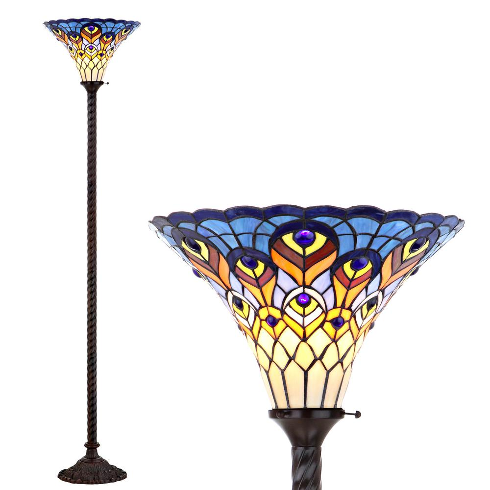 JONATHAN Y Peacock Tiffany-Style 70 in. Bronze Torchiere Floor Lamp