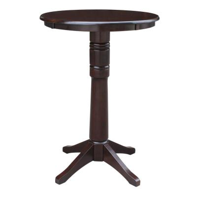 Olivia 30 in. Rich Mocha Round 42 in. H Solid Wood Bar Table