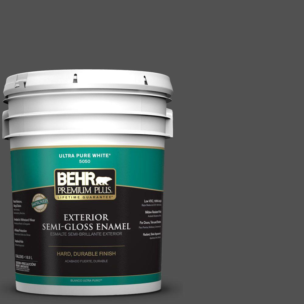5-gal. #N460-7 Space Black Semi-Gloss Enamel Exterior Paint